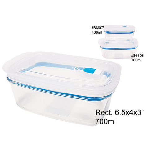 AIRTIGHT GLASS FOOD CONTAINER W/PLASTIC LID 700ML RECTANGULAR
