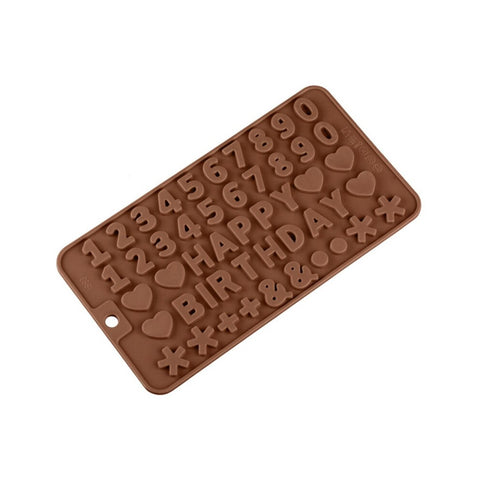 Silicone Chocolate Mold Numbers Happy Birthday 21.5x11.5x0.5cm