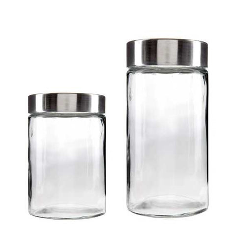 Clear Glass Container w/Stainless Steel Lid