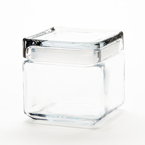 "Clear Glass Container w/Clear Plastic Lid Square 4 1/2"" Tall"