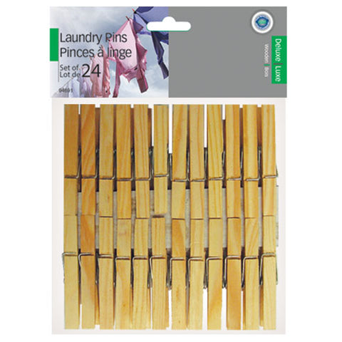 WOODEN LAUNDRY PINS - 24PK