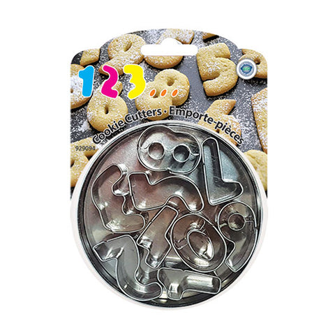 STAINLESS STEEL NUMBERS COOKIE CUTTER SET OF 9