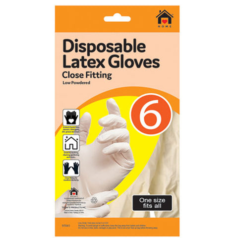 DISPOSABLE LATEX GLOVES - 8 PCS CLOSE FIT