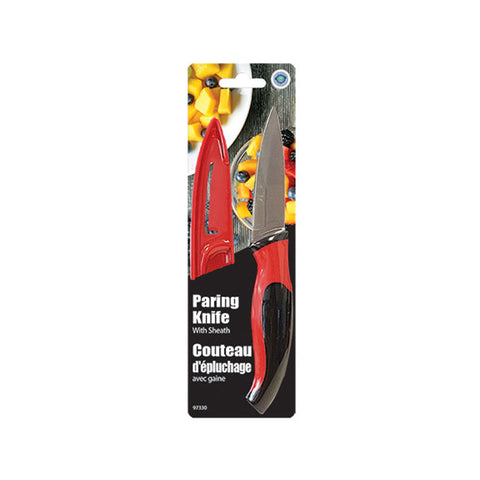 STAINLESS STEEL PARING KNIFE WITH COVER -7.5""