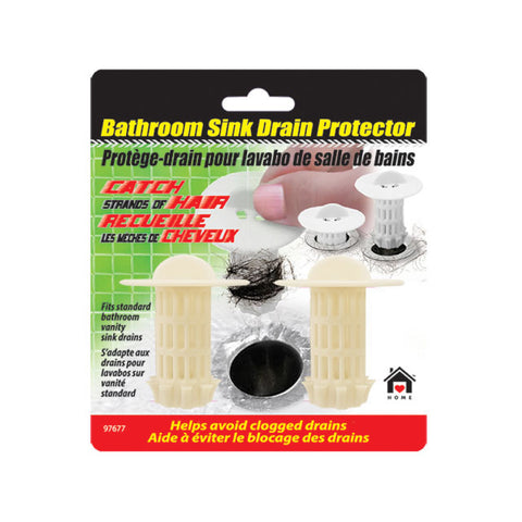 BATHROOM SINK DRAIN PROTECTOR HAIR CATCHER -2PK