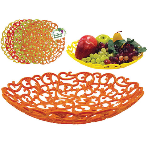 "PLASTIC VINE DESIGN FRUIT BASKET- 12"" DIA"