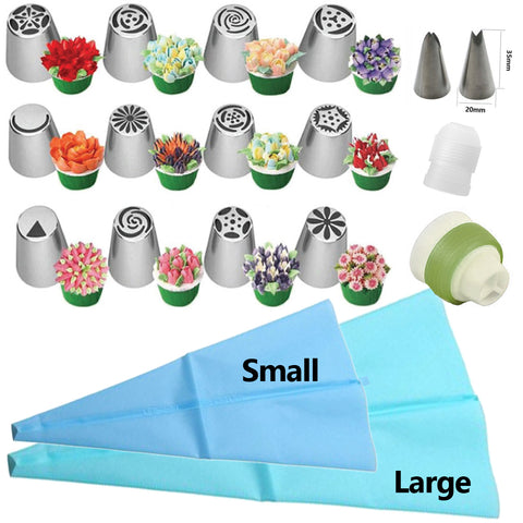 Stainless steel Icing Piping Tulip Leave Nozzles Set with Silicone bags