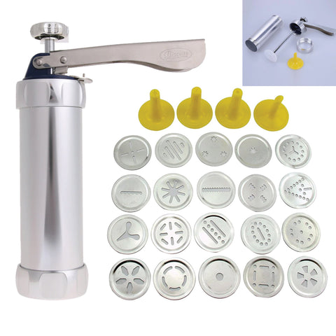 Stainless Steel Cookie Press Gun Kit With 20 Cookie Molds and 4 Nozzles
