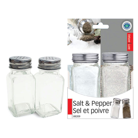 GLASS SALT & PEPPER SET - 2PCS