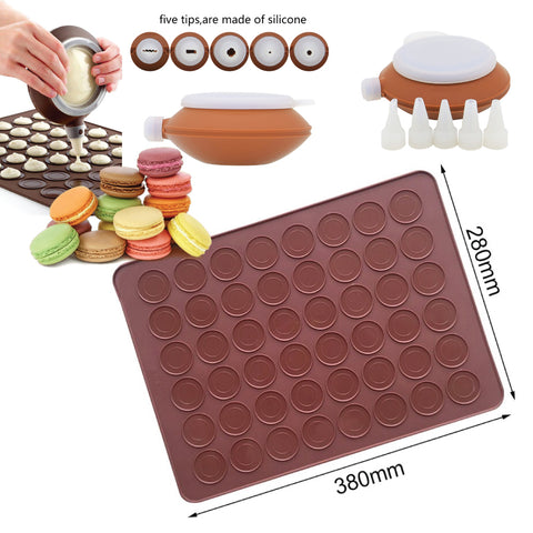 Macaron Making Set 48 Capacity Silicone Baking Mat + Decorating Pen Icing Tips and 5 Nozzles