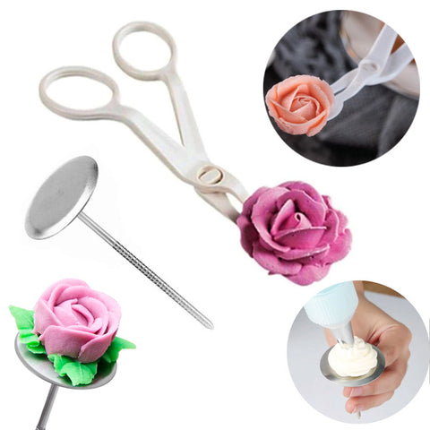 Piping Flower Scissors Nail Set Cake Icing Flower Detachable Plastic Lifter