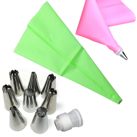 Silicone Pastry Bag Set with 8 Stainless Steel Nozzles / 1 Converter