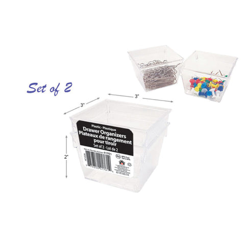 PLASTIC CLEAR PS DRAWER ORGANIZER SET OF 2 - 3 X 3 X 2""