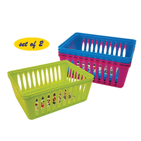 PLASTIC MINI BASKET- SET OF 2- 6.5 X 5 X 2.4""