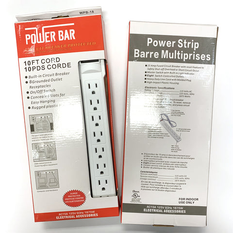 8 Outlet Power Strip Indoor 10 FT AC Cord Lighted on / off Switch