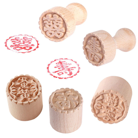 Traditional Chinese Wooden Stamp (Diameter 5 cm)