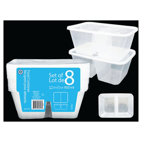 VALUE PACK 2 COMPARTMENTS FOOD STORAGE CONTAINER 950ML - 8PK