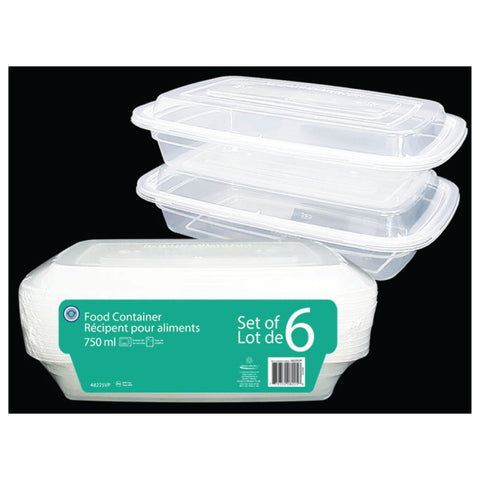 VALUE PACK FOOD STORAGE CONTAINER 750ML - 6PK