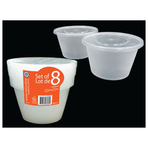 VALUE PACK ROUND FOOD STORAGE CONTAINER 1000ML (PK OF 8)