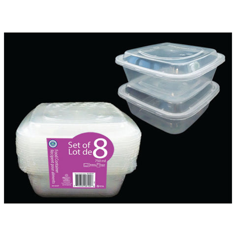 VALUE PACK SQUARE FOOD STORAGE CONTAINER 750ML (PK OF 8)