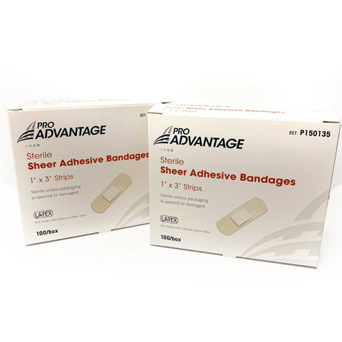 "Pro Advantage Sterile Sheer Adhesive Bandages 1"" x 3"" Strips 100 pieces"
