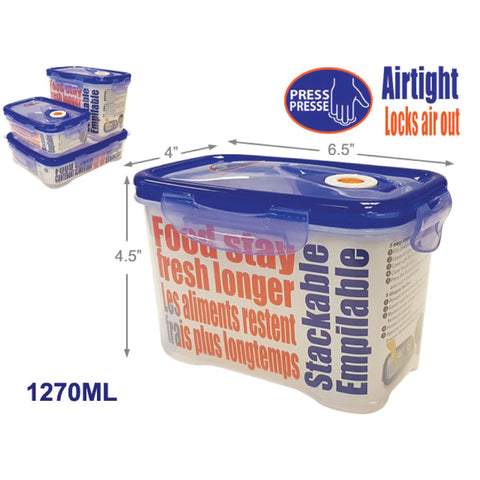 CLIP LOCK AIRTIGHT FOOD CONTAINER - RECT TALL 1270ML