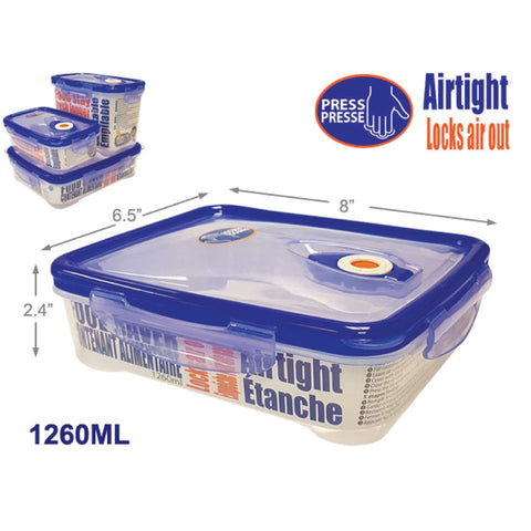 CLIP LOCK AIRTIGHT FOOD CONTAINER - RECT FLAT 1260ML