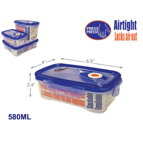 CLIP LOCK AIRTIGHT FOOD CONTAINER - RECT FLAT 580ML