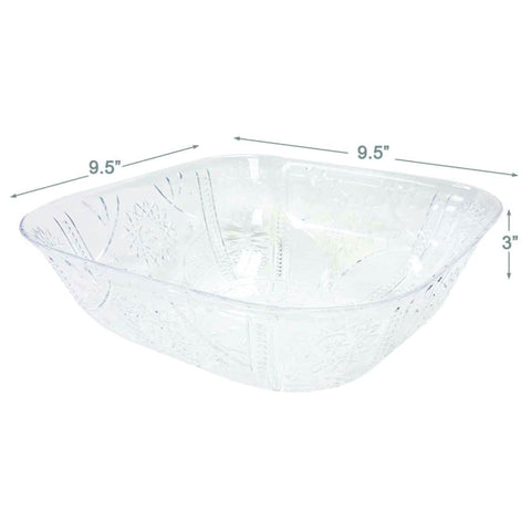 PLASTIC CLEAR PS SERVING BOWL- 9.5X9.5X3""