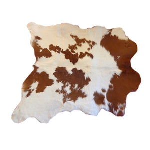 Calfskin Rug - Beautiful Brown and White Pattern - Approx 99 cm x 93 cm - Natural Luxury Designer Hide by Narbonne Leather Co - 19MARCS125