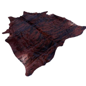 Cowhide Rug by Narbonne Leather - Printed Exotic Dark Brown Hide - Approx 210 cm x 176 cm - Luxury Designer Hide - 15MAREXP11