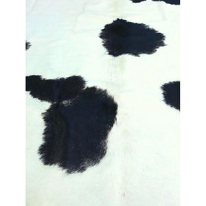 Narbonne Leather Cowhide Rug - Black White Fresian Pattern - Approx 209 cm x 181 cm - Luxury Designer Hide - 15APRMED46