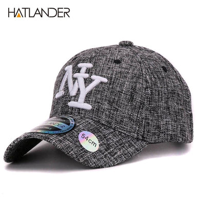 2017 kids cotton linen baseball caps for boys girls outdoor sun hats NY  letter adjustable casual 0712029012a8