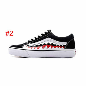 92ad0edcbbb5 2018 Vans Old Skool Sharktooth Men women Casual shoes Rock Flame Yacht Club  Peanuts Skateboard Canvas Sports Running Shoe Sneakers eur 36-44