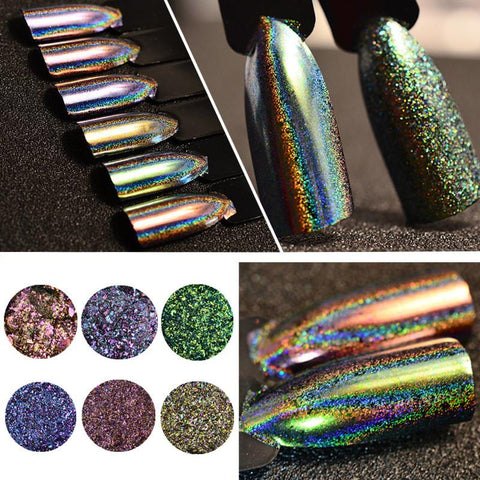 0.2g/Box Chameleon Nail Powder Holographic Flakes Laser Glitter Nail Art Decoration