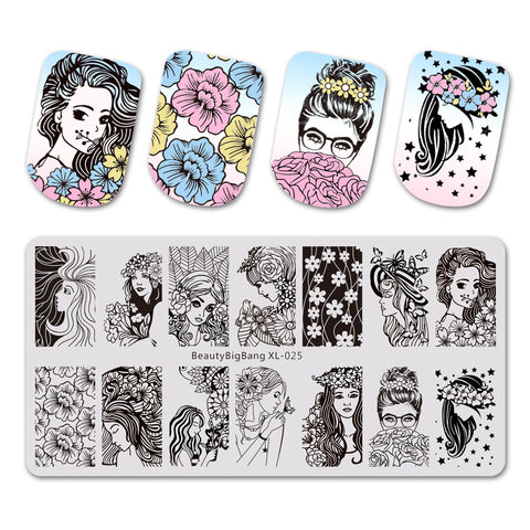 Beauty Theme Rectangle Nail Stamping Plate Maid Design Nail Art Tool BBBXL-025