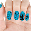 5Pcs Zombie Theme Circle Nail Stamping Plate Haunted House Bat Star Design Nail Art Tool