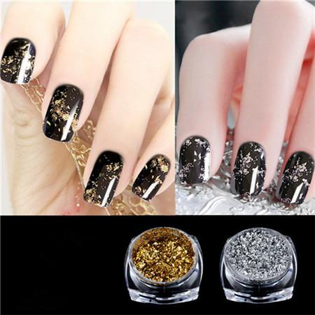 1 Box Gold Silver Mirror Effect Nail Powder Magic Aluminum Chrome Flakes
