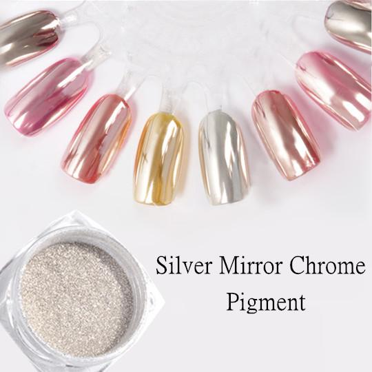 0.5g/Box Top Grade Silver Mirror Chrome Nail Powder Nail Glitter Dust Pigment