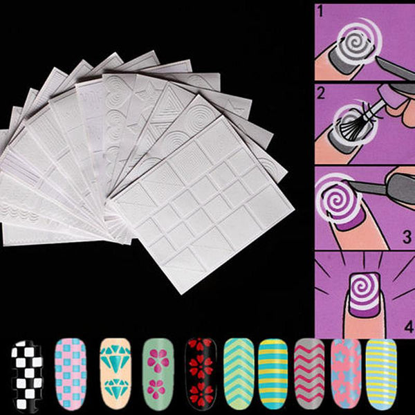 12Pcs Irregular Wave Shape Guide Tips French Nail Stickers For Manicure