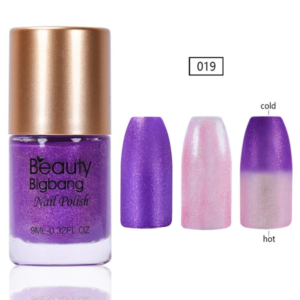 9ML Purple Glitter Temperature Color Changing Thermal Nail Polish For Manicure
