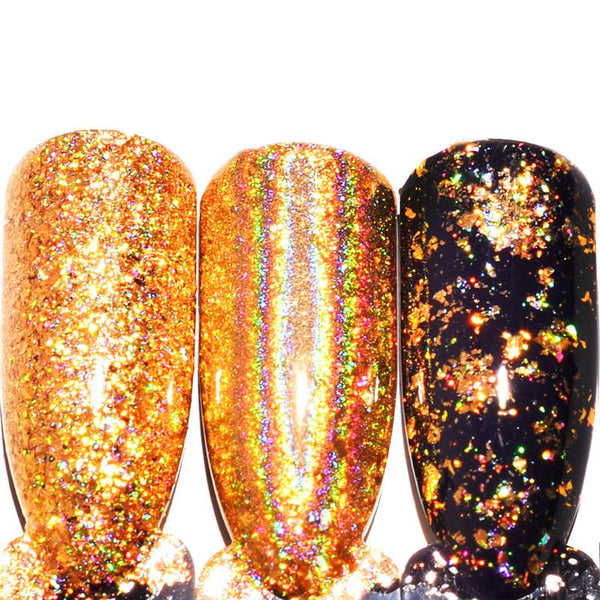 0.2g/Box Galaxy Holo Laser Powder Gold Flecks Chrome Magic Effect Nail Glitters