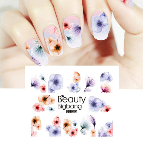 Gradient Flower Series Water Decals Transfer Nail Art Stickers BBB001