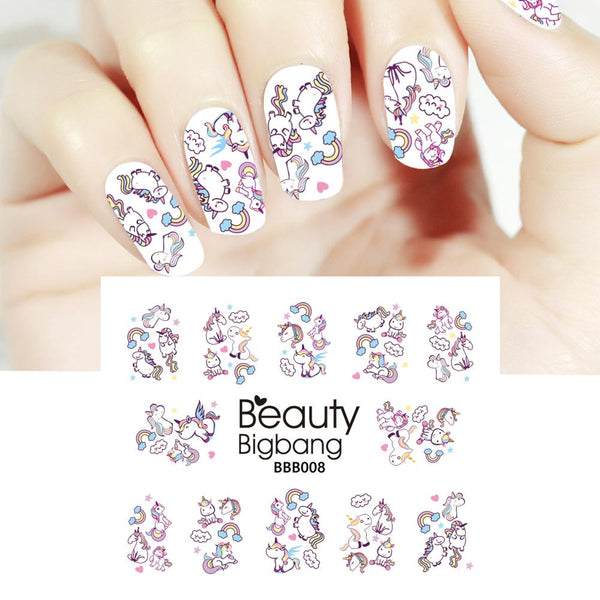 Unicorn Series Rainbow Designs Water Decals Transfer Nail Art Stickers BBB008