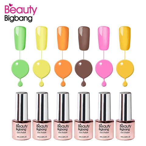 6ML Candy Colors Soak-off UV&LED Gel Nail Polish Lamp Green Yellow Orange Gel Varnishes Nail Art Manicure 07-12