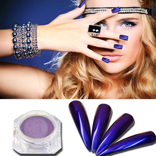 0.5g/Box Purple Mermaid Mirror Nail Powder Nail Art Chrome Pigment Glitter Dust