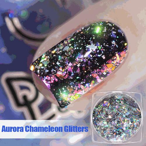 0.2g/Box Aurora Chameleon Flakes Holographic Nail Glitter Powder For Manicure