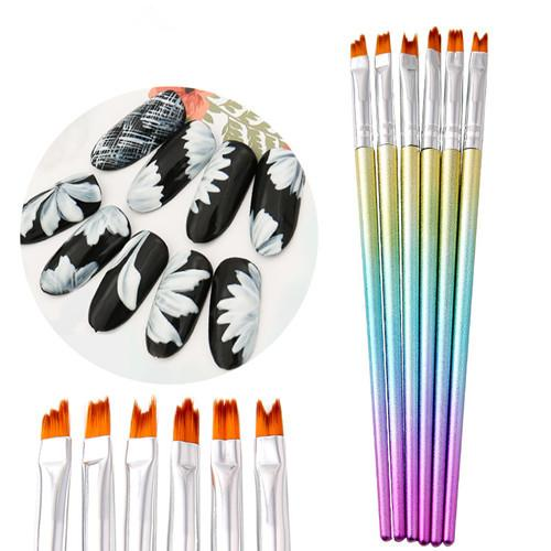 6Pcs Mermaid Colorful Handle Gradient Painting Nail Brushes Pen Nail Tools