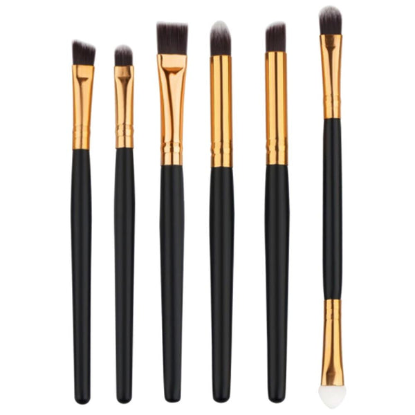 6Pcs Black Gold Handle Eye Shadows Eyeliner Cosmetics Brushes Kit For Eyes Makeup