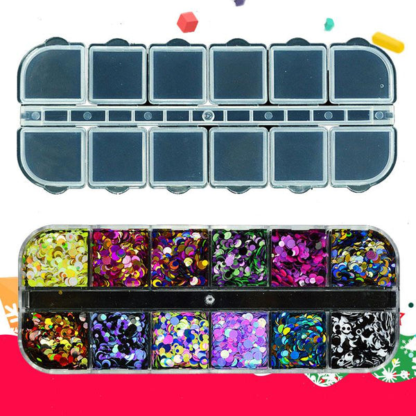 12Pcs Mixed Size Round Sequins Charm Flakes Nail Art Glitter For Decoration